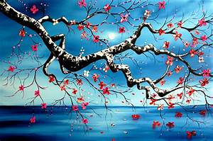 Japanese Cherry Blossom with Moon 24x36 ORIGINAL by ...