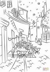 Gogh Coloring Van Cafe Vincent Terrace Night Colouring Printable Famous Arte Supercoloring Crafts Paintings Da Paris Colorare Vans Para Drawing sketch template