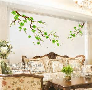 cherry blossom wall decals green flower vinyl mural nature by cuma