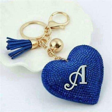 pin  az saiyed  alphabet heart keychain keychain crystal purse