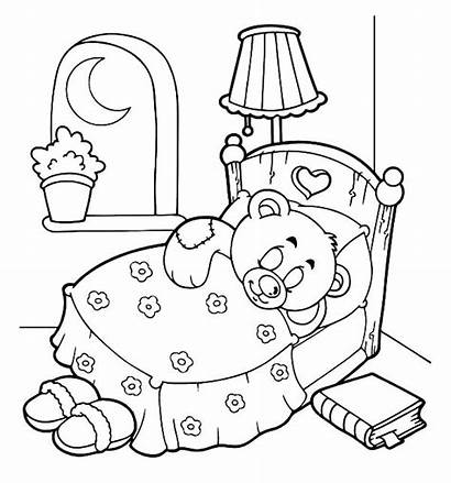 Coloring Pages Goodnight Bear Teddy Sleepover Sleep