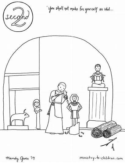 Commandment 2nd Coloring Children Idols Shall Yourself