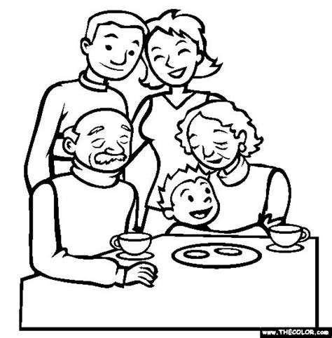 simple family coloring pages  children