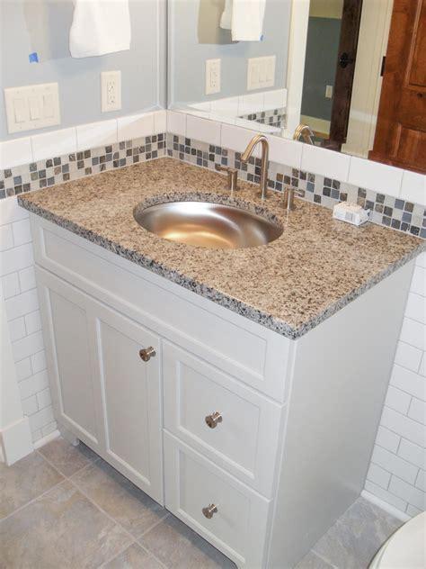 Transitional White Bathroom With Glass Tile Backsplash   HGTV