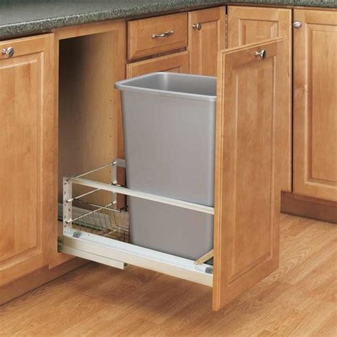 kitchen corner cabinet trash can pull out rev a shelf single trash pullout 50 quart silver 5349
