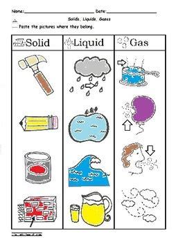 solid liquid  gas sorting worksheet science  abc