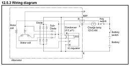 hitachi yanmar alternator machine sensed  battery