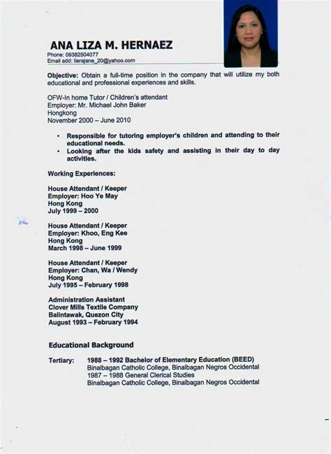 Nanny Resume Format by Exle Of Resume For Nanny Resume Exles