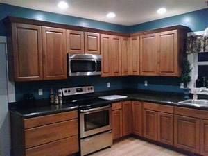 my kitchen remodeldark granite cherry cabinets teal With best brand of paint for kitchen cabinets with wall art teal