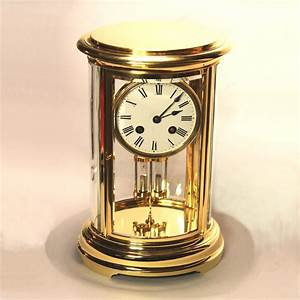 French, Oval, Four, Glass, Gilded, Mantel, Clock, With, Mercury, Pendulum, For, Sale, Circa, 1900