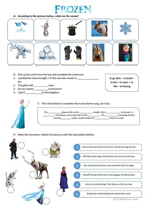 frozen  vocabulary exercise worksheet  esl