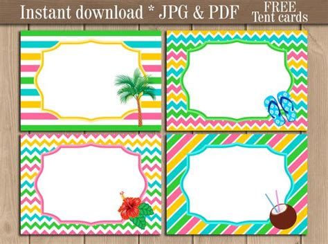 Luau Tropical Party Birthday Tent Labels Printable
