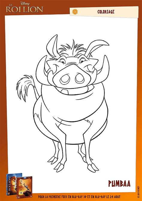 Coloriage Le Roi Lion Pumbaa