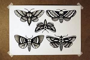 Traditional black old school style moth tattoo design ...