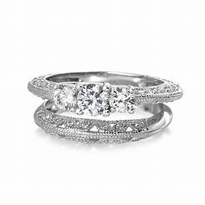 Ring Set Silber : vintage 3 stone round cz wedding anniversary ring set 925 silver ~ Eleganceandgraceweddings.com Haus und Dekorationen