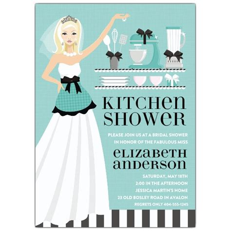 Bridal Kitchen Shower Invitations - kitchen blue shower invitations paperstyle