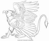 Griffin Lineart Drawing Gryphon Sugarpoultry Deviantart Line Dragon Template Mythological Animals Getdrawings sketch template