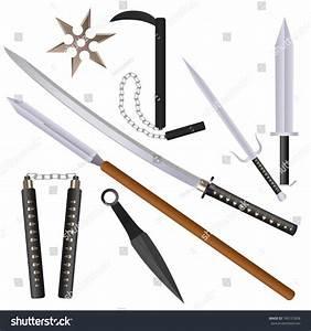 Cartoon Flat Style Ninja Weapons Set Stock Vector ...