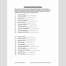 Compound Naming Race Worksheet For 10th  12th Grade  Lesson Planet