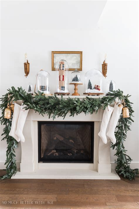 Decorating Ideas Mantel by Mantel Decor With Snow Globe Cloches So Much