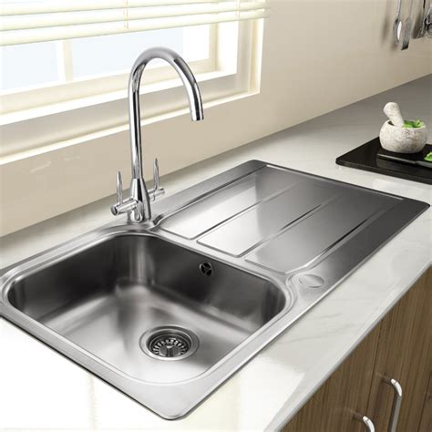 kitchen sink with drainer rangemaster glendale gl9501 single bowl sink and drainer 8809