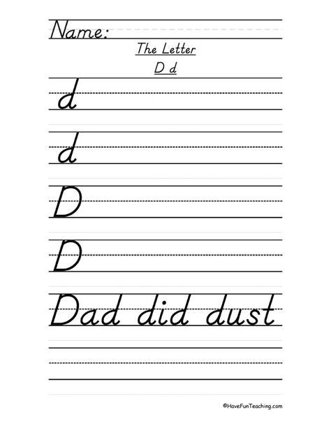 letter d handwriting practice d nealian teaching