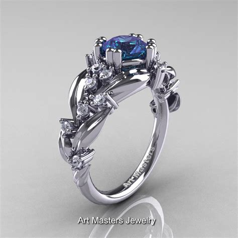 nature classic 14k white gold 1 0 ct alexandrite diamond leaf and vine engagement ring r340