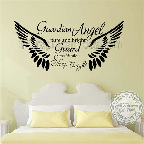 guardian bedroom wall sticker quote with wings home wall decor decal