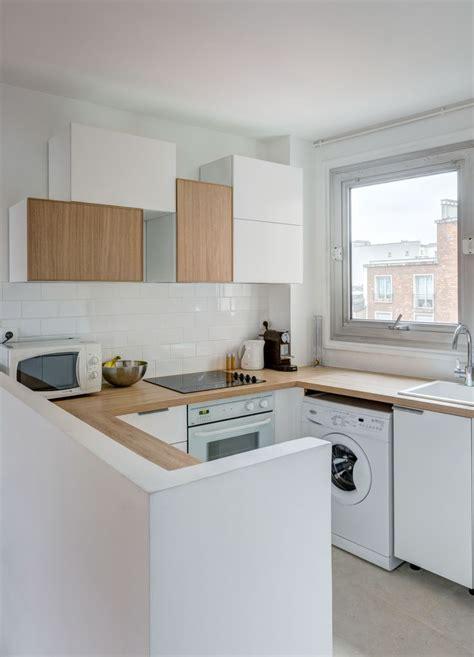 cuisine integree cuisine intégrée ouverte total look blanc et bois