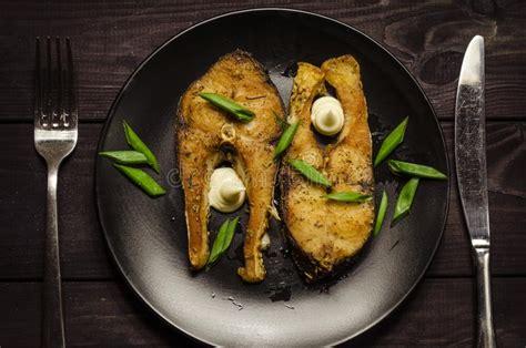 steaks  raw fish stock image image  plate lemon