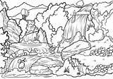 Coloring Waterfall Nature Landscape Printable Colorear Colorare Disegni Natur Ausmalbilder Ausmalbild Dibujos Cascata Waterfalls Colorat Planse Scene Colorir Cascada Wasserfall sketch template