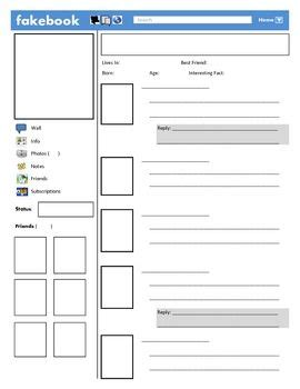 farcebook template 14 best images about and lessons on book characters student and