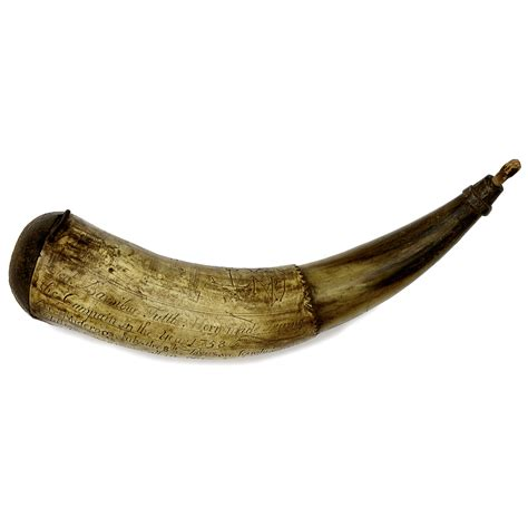 french indian war engraved powder horn dated