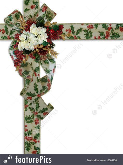 christmas border holly ribbons  flowers illustration