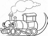 Train Clipart Steam Locomotive Cartoon Drawing Simple Engine Coloring Vector Tren Getdrawings Illustrations Pages Transport Para Station Negro Blanco Transportation sketch template
