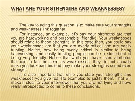 Questions Strengths And Weaknesses Exles by Common Questions To Master