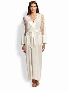 la perla embroidered silk georgette robe in white lyst With robe la perla