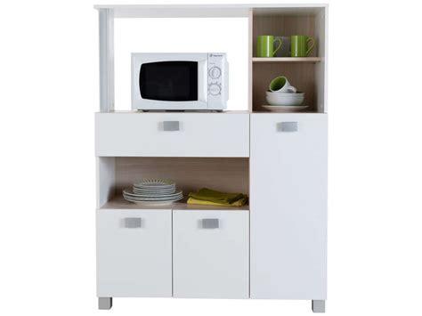 meuble de cuisine pour four et micro onde desserte basilic coloris blanc vente de meuble micro