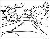 Coloring Mountain Road Pages Mountains Roads Drawing Landscape Printable Line Arctic Nature Bike Mount Everest sketch template