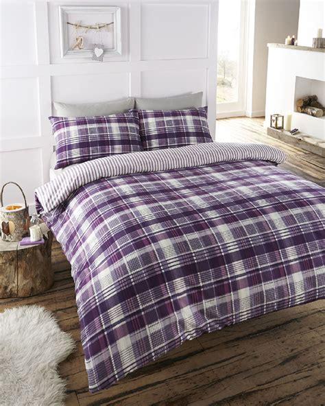 Check Duvet Cover by Tartan Check Print Duvet Quilt Cover Bedding Set Ebay