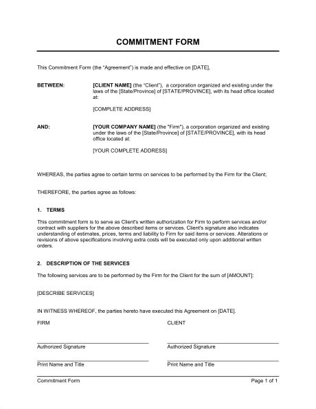 Commitment Action Document Template commitment form template sle form biztree