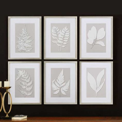 home interior pictures wall decor moonlight ferns silver framed wall collage uttermost 41394