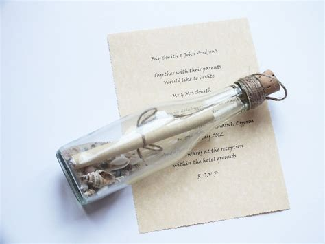 Message in a Bottle Wedding Invitations Beach Themed