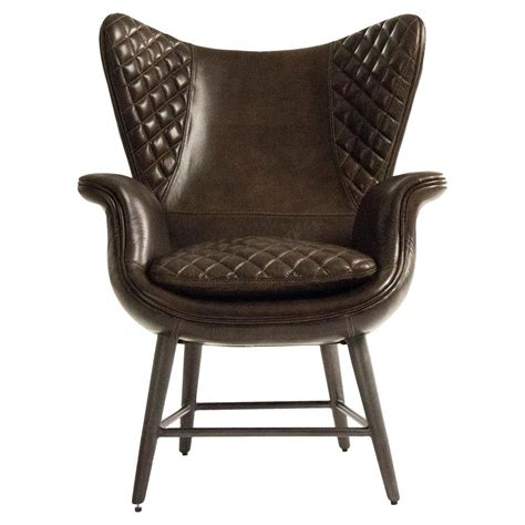 livingroom chair volker industrial walnut brown leather highback living room chair kathy kuo home