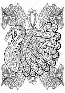 Dessin La Main Swan Artistique En Fleurs Pour Adultes