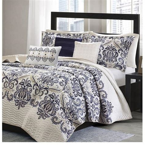 Navy Blue Bedspreads And Coverlets by Mesa Navy Blue And White Damask Quilt Bedding Set Sky Iris