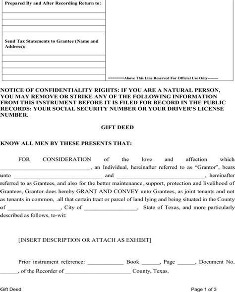 gift deed form texas download state of texas gift deed for free page 4