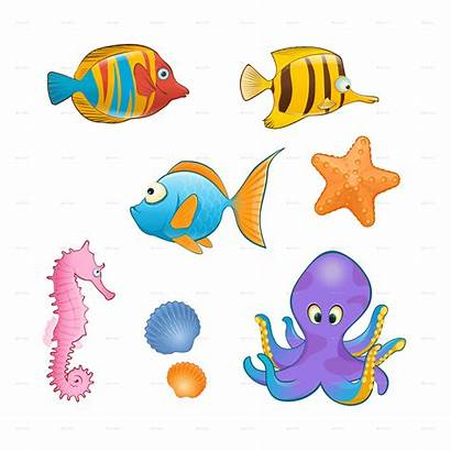 Sea Animals Cartoon Clipart Creatures Animal Transparent
