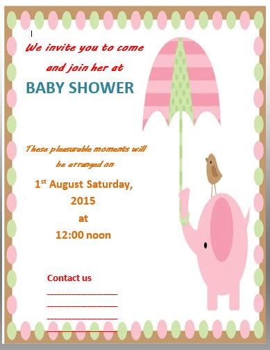 baby shower invitations for word templates baby shower invitation template free word templates