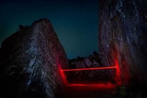 Geometric light installations by nicolas rivals bathe the for Geometric light installations by nicolas rivals bathe the spanish countryside in red